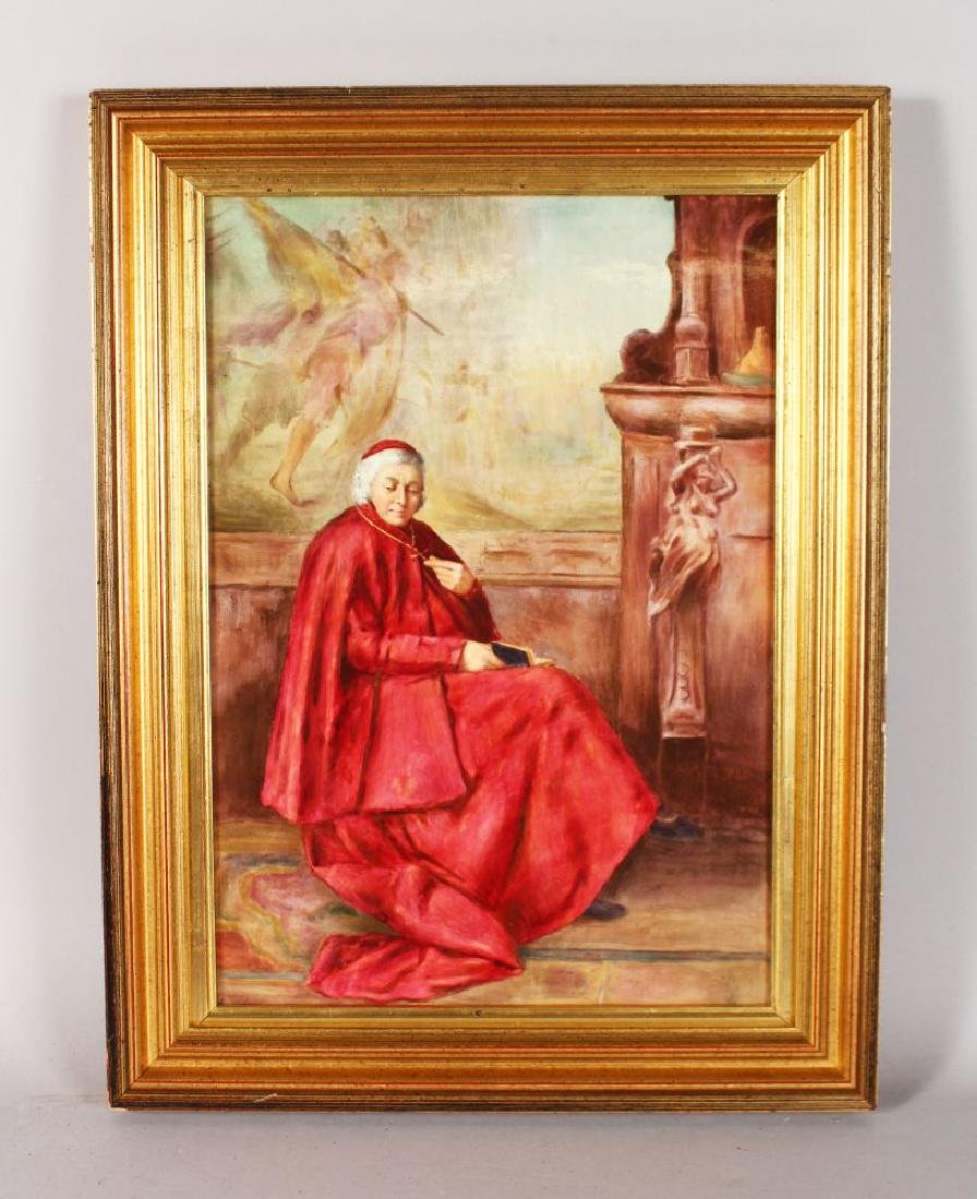 AN ENGLISH PORCELAIN PLAQUE of good size painted with