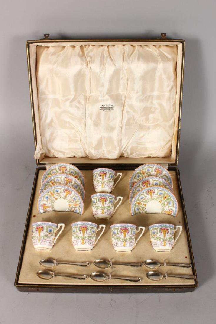 A ROYAL WORCESTER FINE CASED COFFEE SET OF CUPS AND