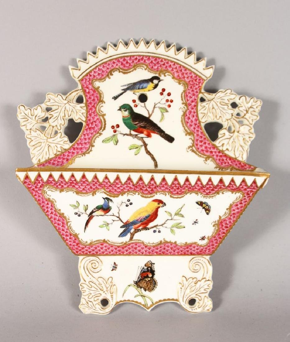 A 19TH CENTURY COALPORT LETTER RACK painted with birds