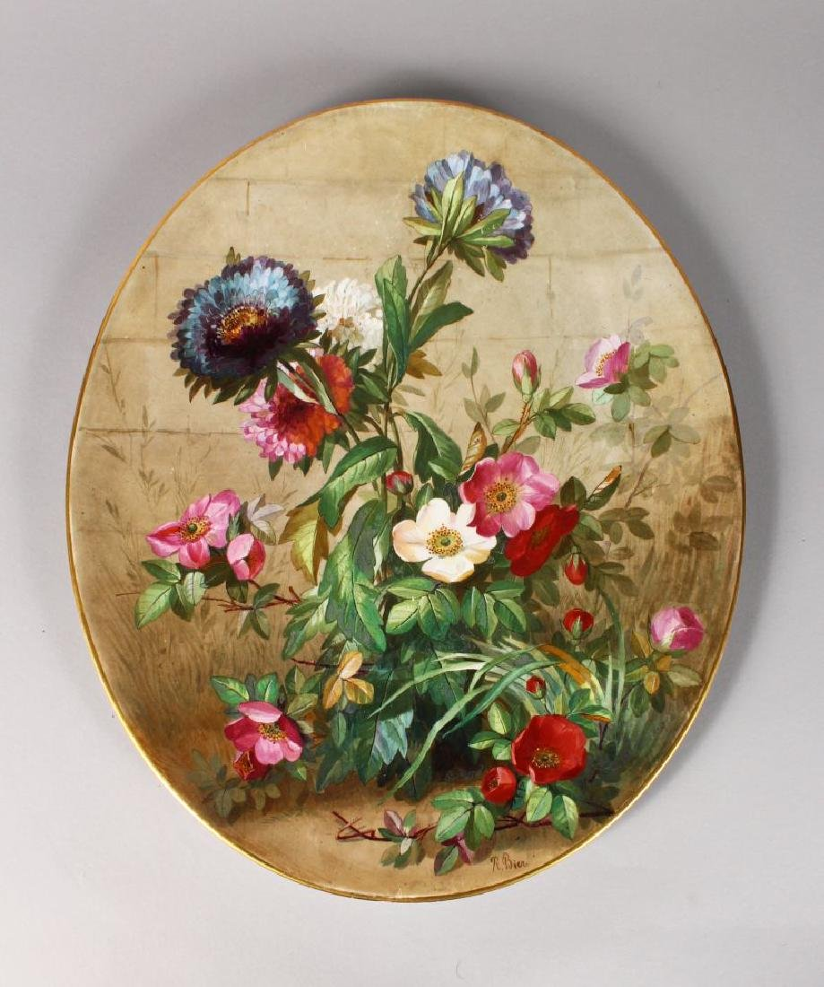 A LATE 19TH CENTURY DERBY PLAQUE of oval shape, painted