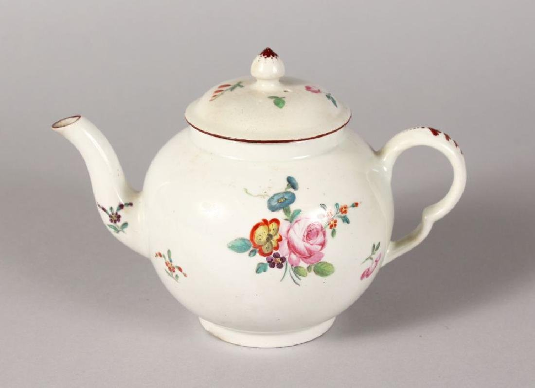 AN 18TH CENTURY DERBY TEAPOT AND COVER painted with a