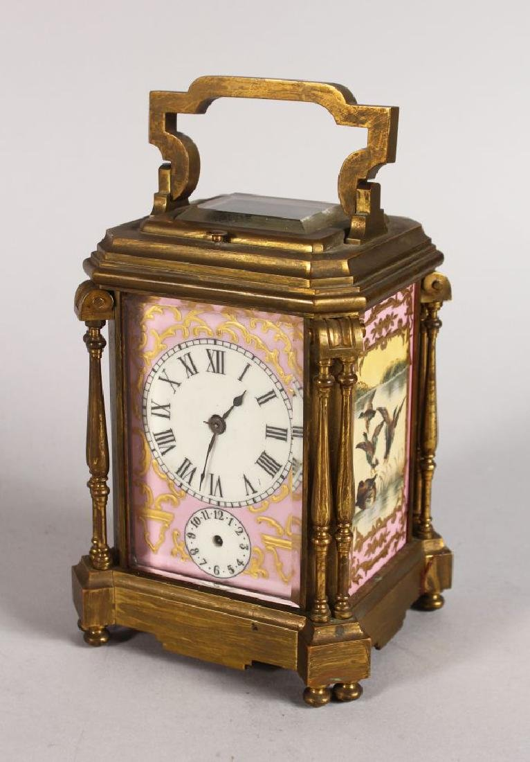 A 19TH CENTURY BRASS REPEATER CARRIAGE CLOCK WITH