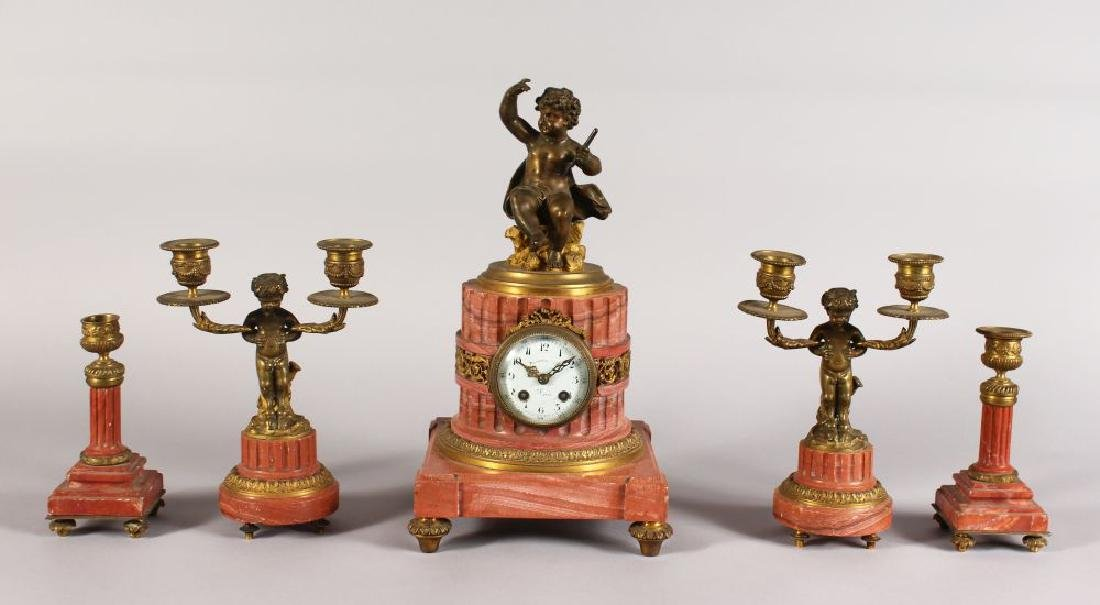 A 19TH CENTURY FRENCH PINK MARBLE AND ORMOLU FIVE PIECE