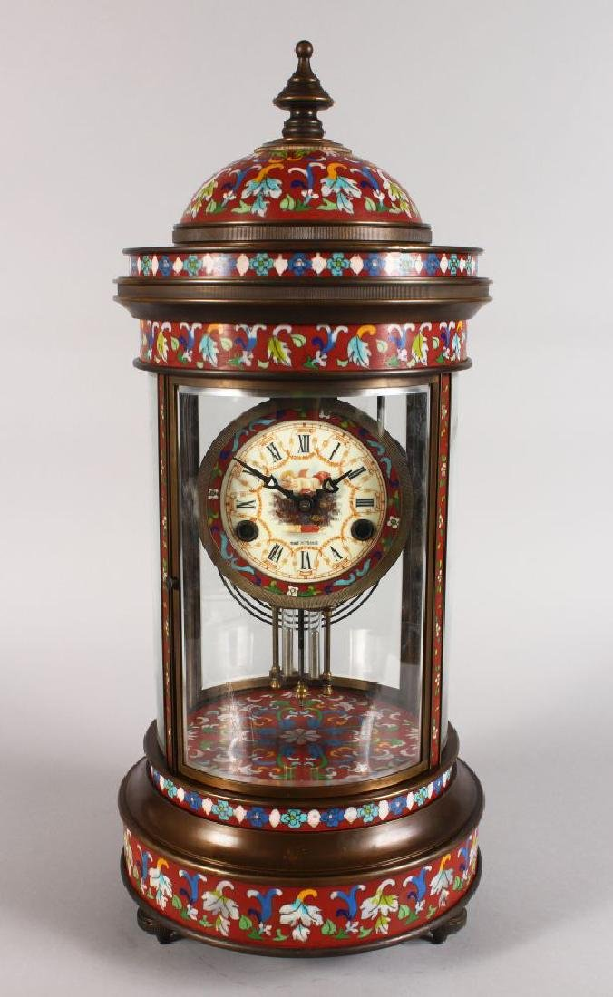AN UNUSUAL, LARGE CHAMPLEVE ENAMEL FOUR GLASS CLOCK, of