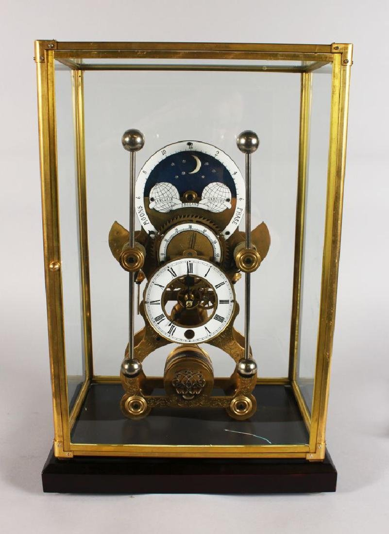 A LARGE SKELETON CLOCK, with circular white enamel dial