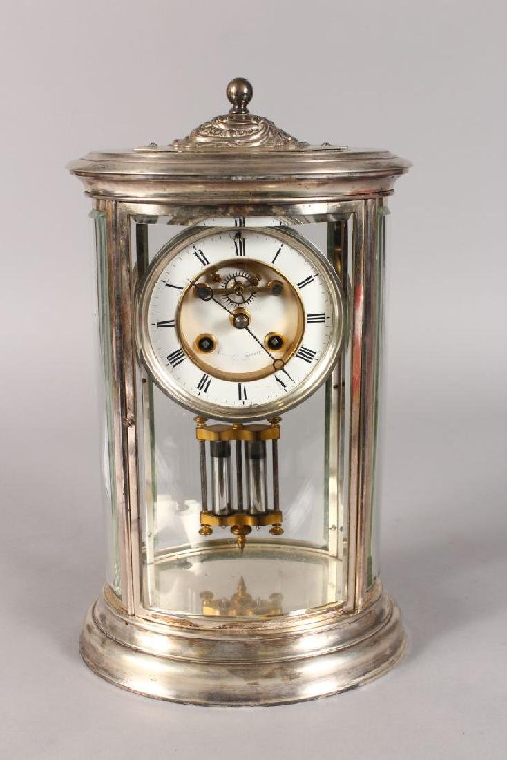 A 19TH CENTURY FRENCH SILVERED OVAL FOUR-GLASS CLOCK,