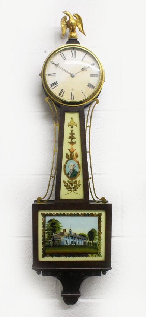 AN AMERICAN MID 19TH CENTURY CASED DROP DIAL WALL CLOCK