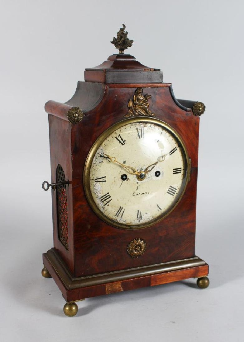 A GEORGE III MAHOGANY BRACKET CLOCK, the case with
