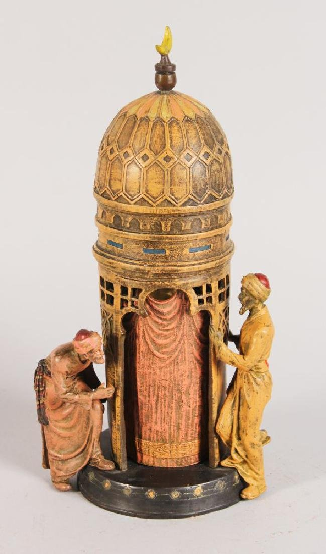 A BERGMAN STYLE COLD PAINTED BRONZE, with two Arab men