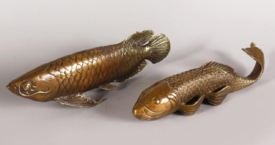 TWO BRONZE MODELS OF FISH.  11ins long.