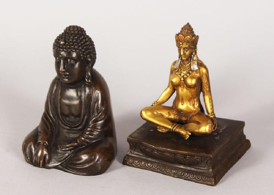 A CHINESE BRONZE BUDDHA, with lift off Buddha opening