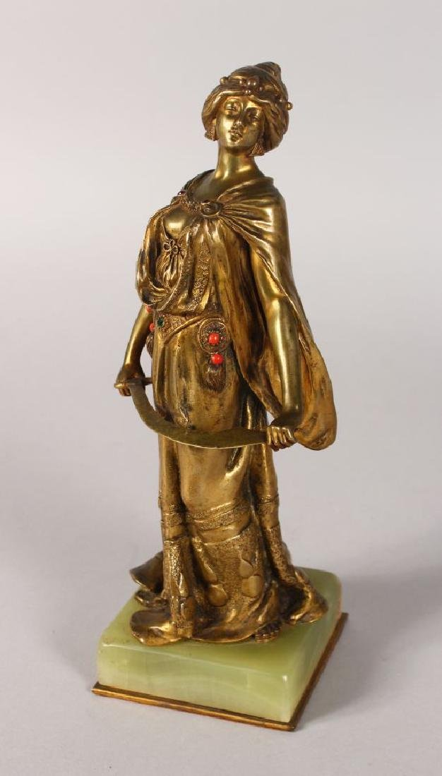 E. WANTE  A GOOD 1920'S AUSTRIAN GILT BRONZE OF A YOUNG