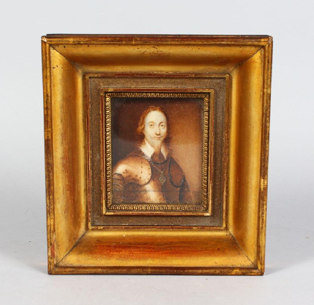 A GILT FRAMED PORTRAIT OF CHARLES I, head and