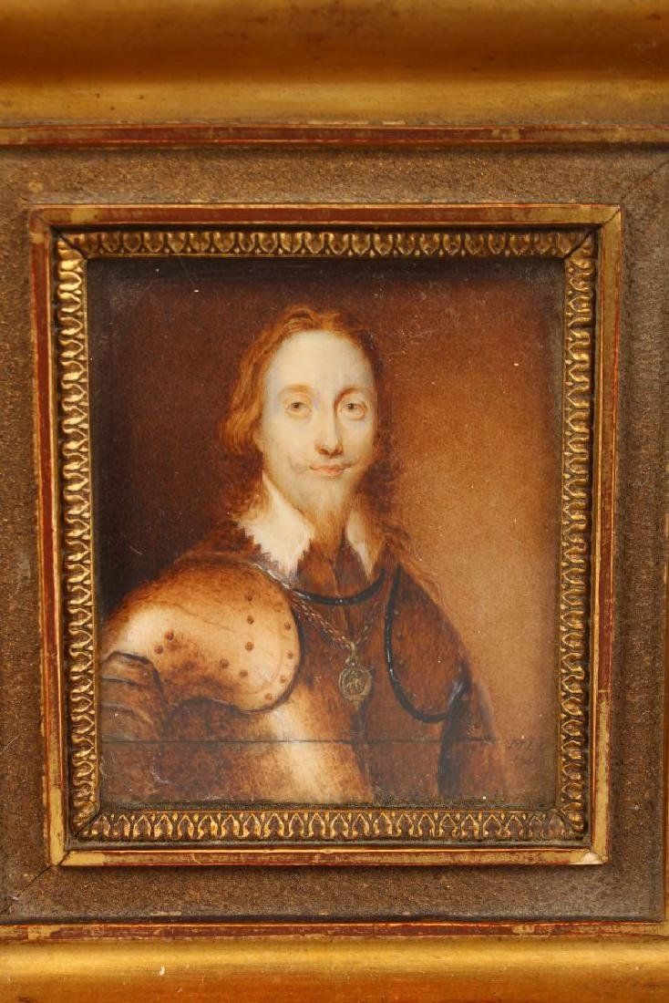 A GILT FRAMED PORTRAIT OF CHARLES I, head and - 2
