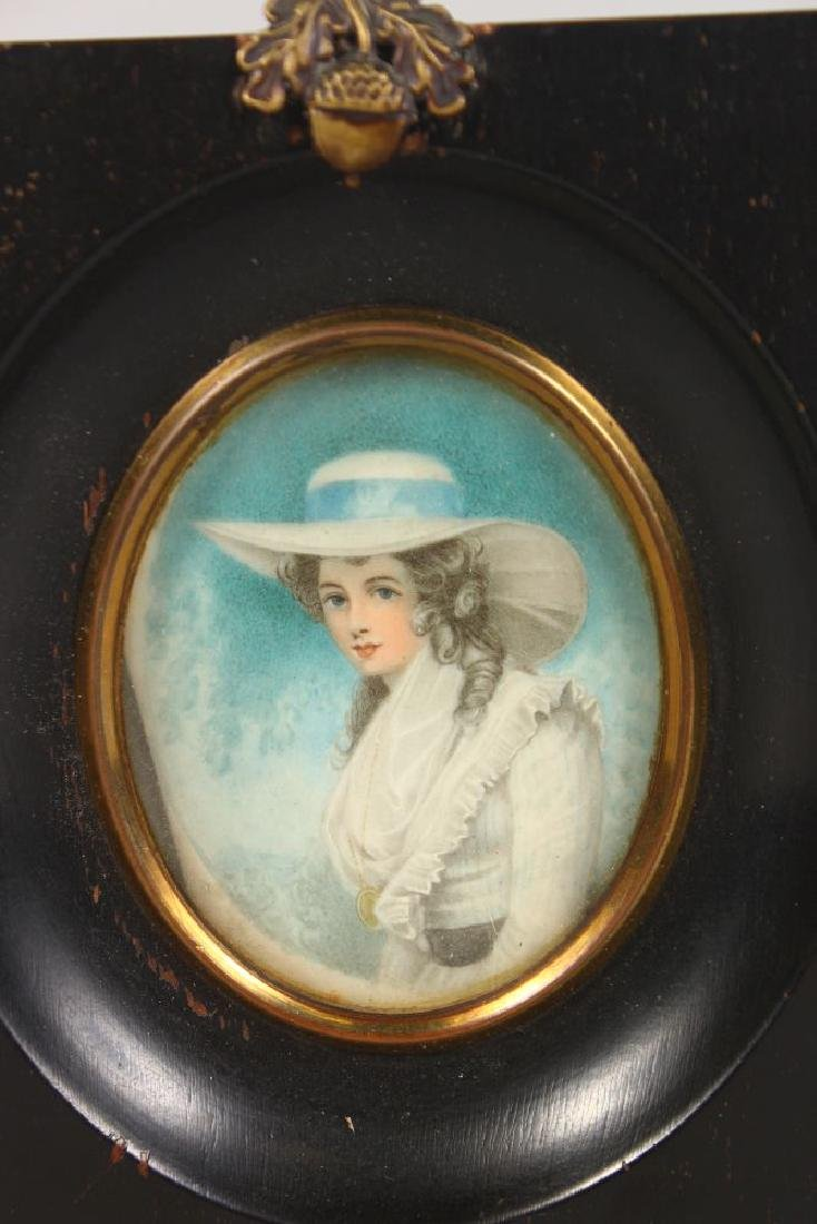 A FRAMED OVAL PORTRAIT OF A YOUNG LADY.  3ins x - 2