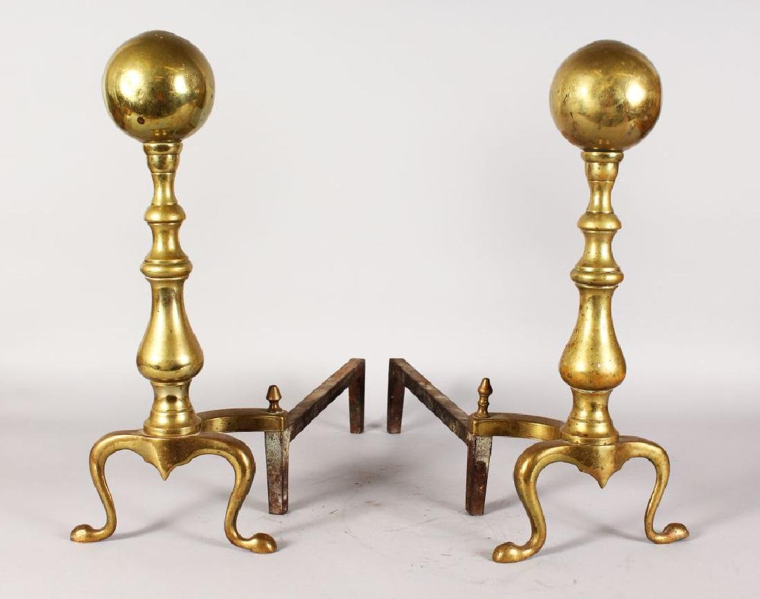 A GOOD PAIR OF 18TH/19TH CENTURY DUTCH BRASS ANDIRONS.