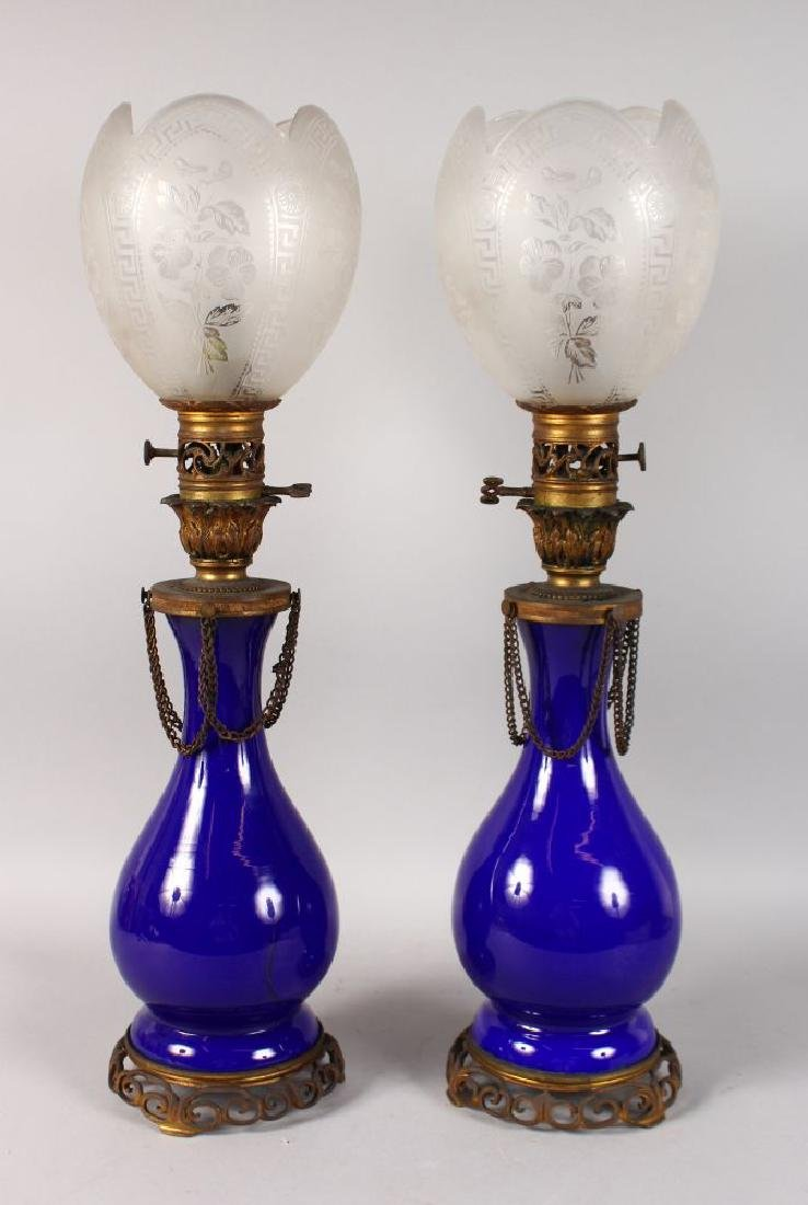 A GOOD PAIR OF 19TH CENTURY FRENCH BLUE GLASS LAMPS