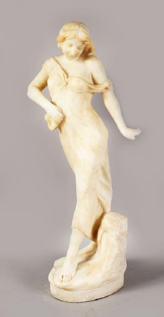 A 19TH-20TH CENTURY FRENCH CARVED ALABASTER FIGURE OF A