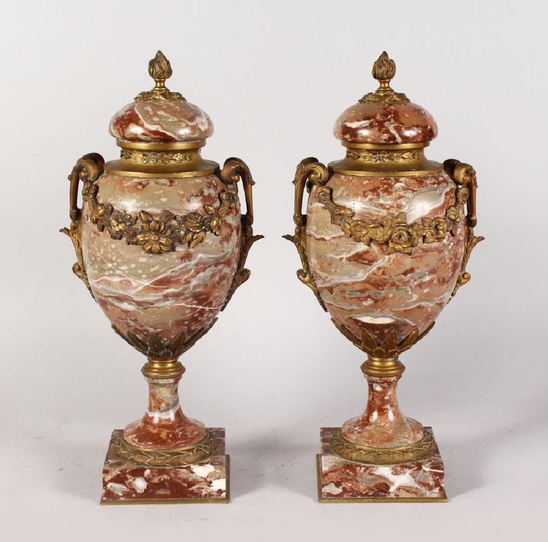A VERY GOOD PAIR OF FRENCH MARBLE CASSOLETTES AND