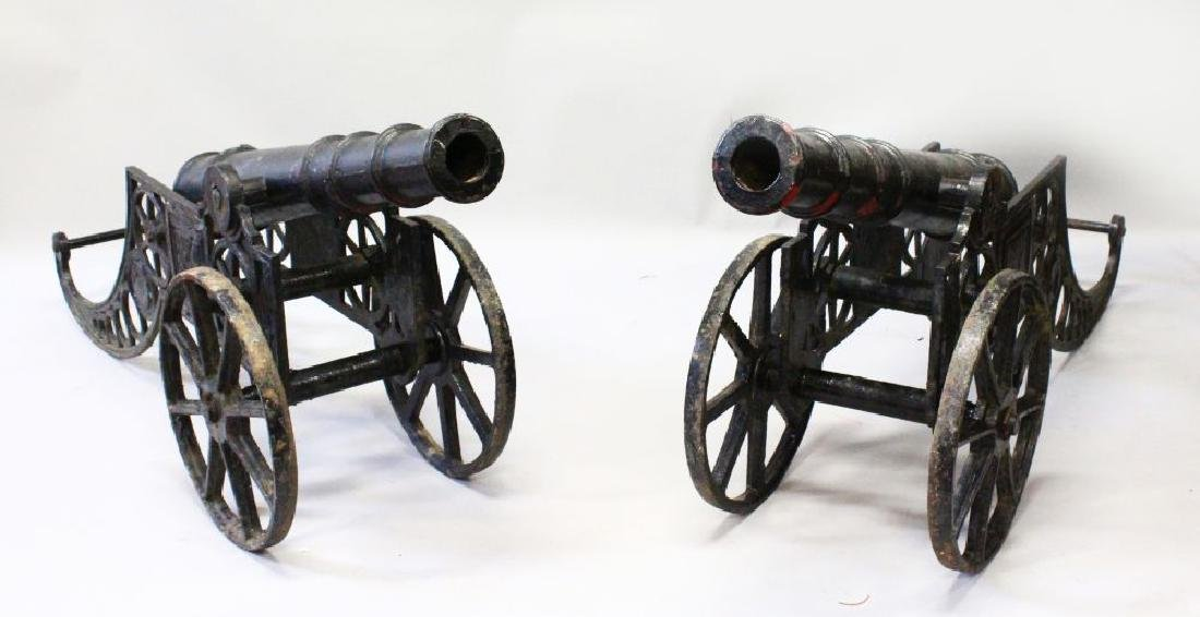 A PAIR OF 19TH CENTURY BLACK PATINATED, MOUNTED CAST