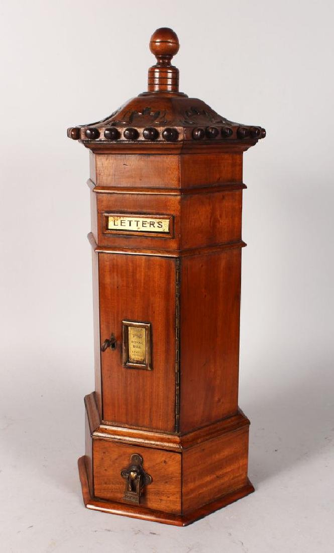 A GOOD GEORGIAN DESIGN HEXAGONAL MAHOGANY POST BOX,