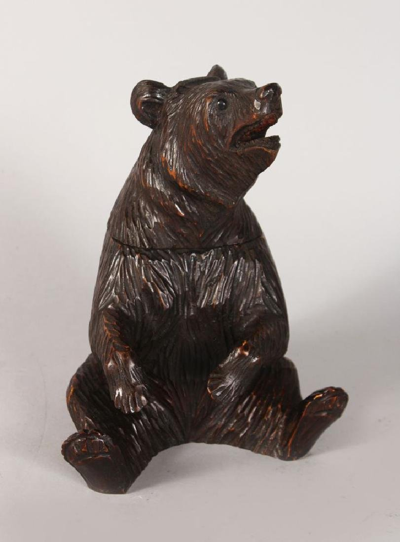 A BLACK FOREST BEAR TOBACCO BOX, with lift off head and