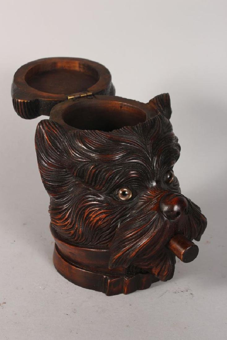 A BLACK FOREST DOG'S HEAD TOBACCO BOX, with lift off - 2