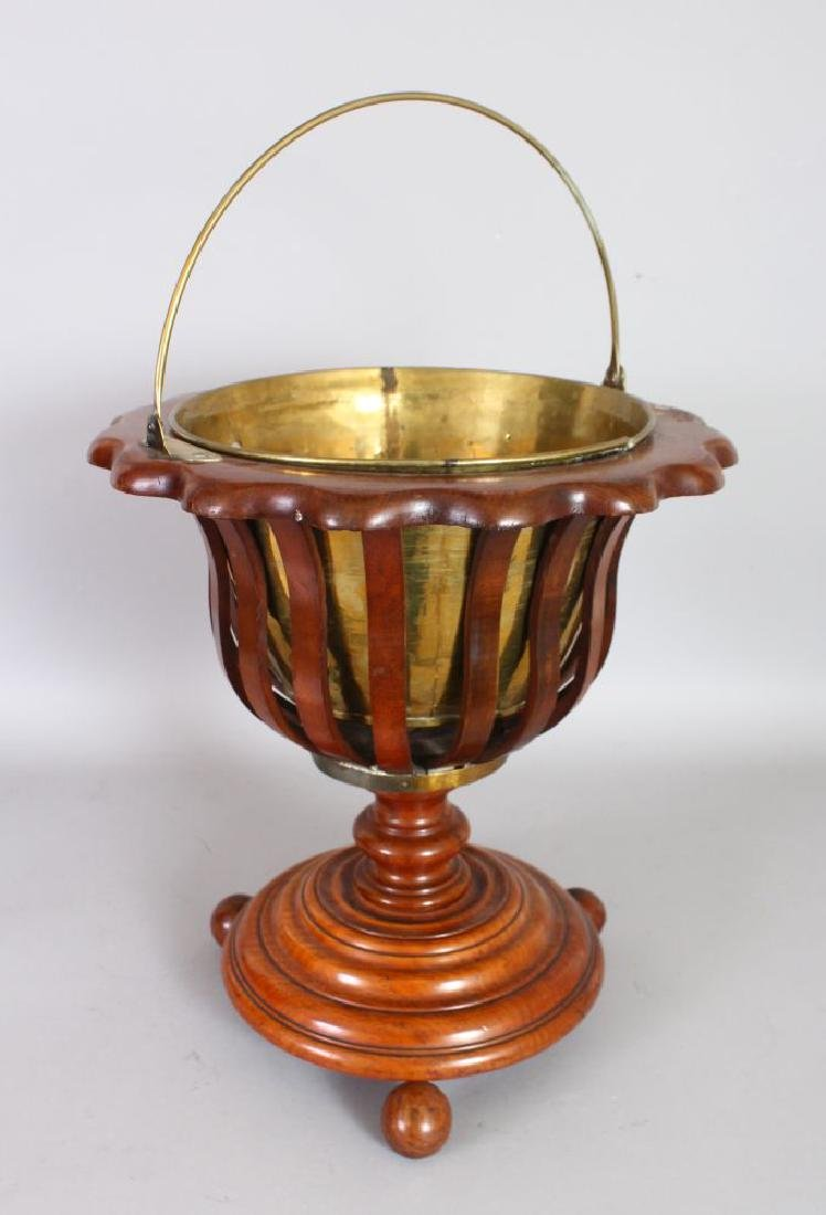 A 19TH CENTURY DUTCH MAHOGANY JARDINIERE, with brass
