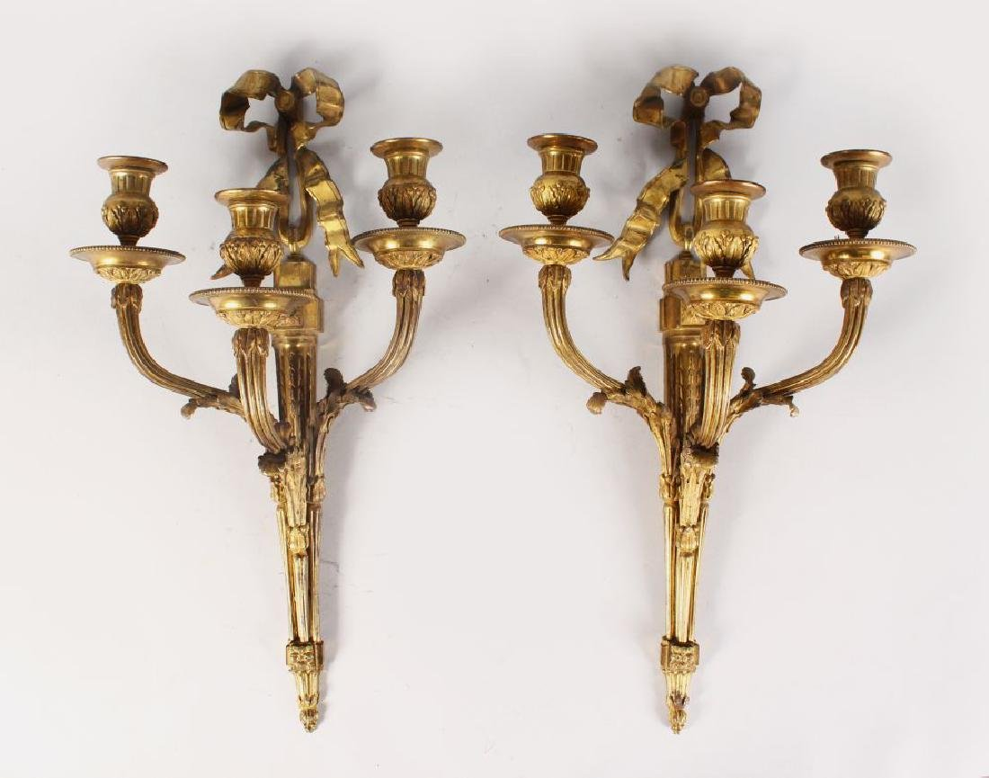 A GOOD PAIR OF LOUIS XVI ORMOLU THREE LIGHT WALL