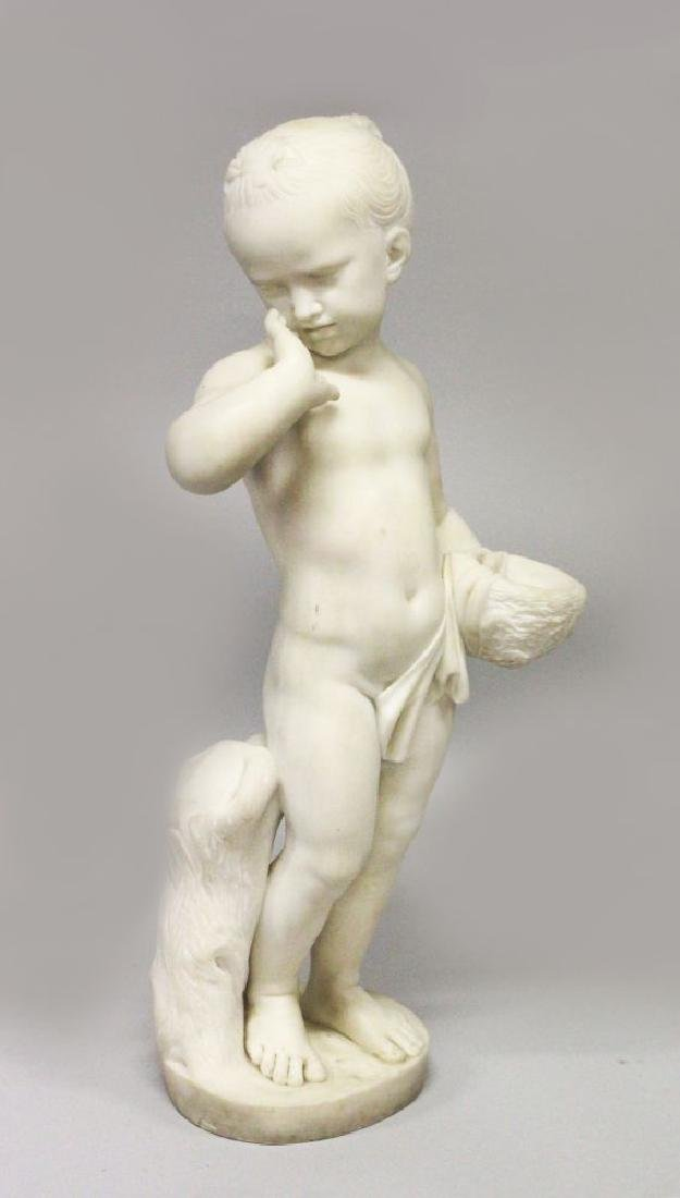 A GOOD CARVED CARRARA MARBLE STATUE, depicting a young