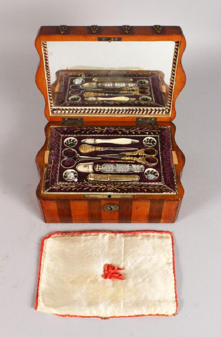 A GOOD PALAIS ROYAL SATINWOOD AND ROSEWOOD SEWING BOX,