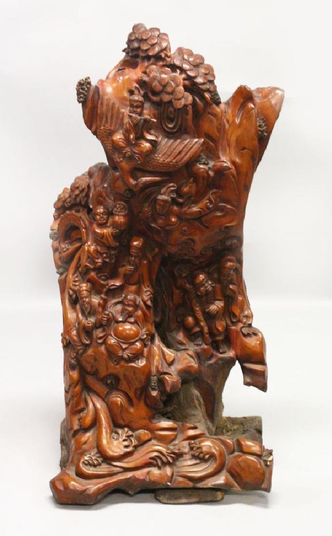 AN IMPRESSIVE CHINESE CARVED ROOT WOOD GROUP OF LARGE