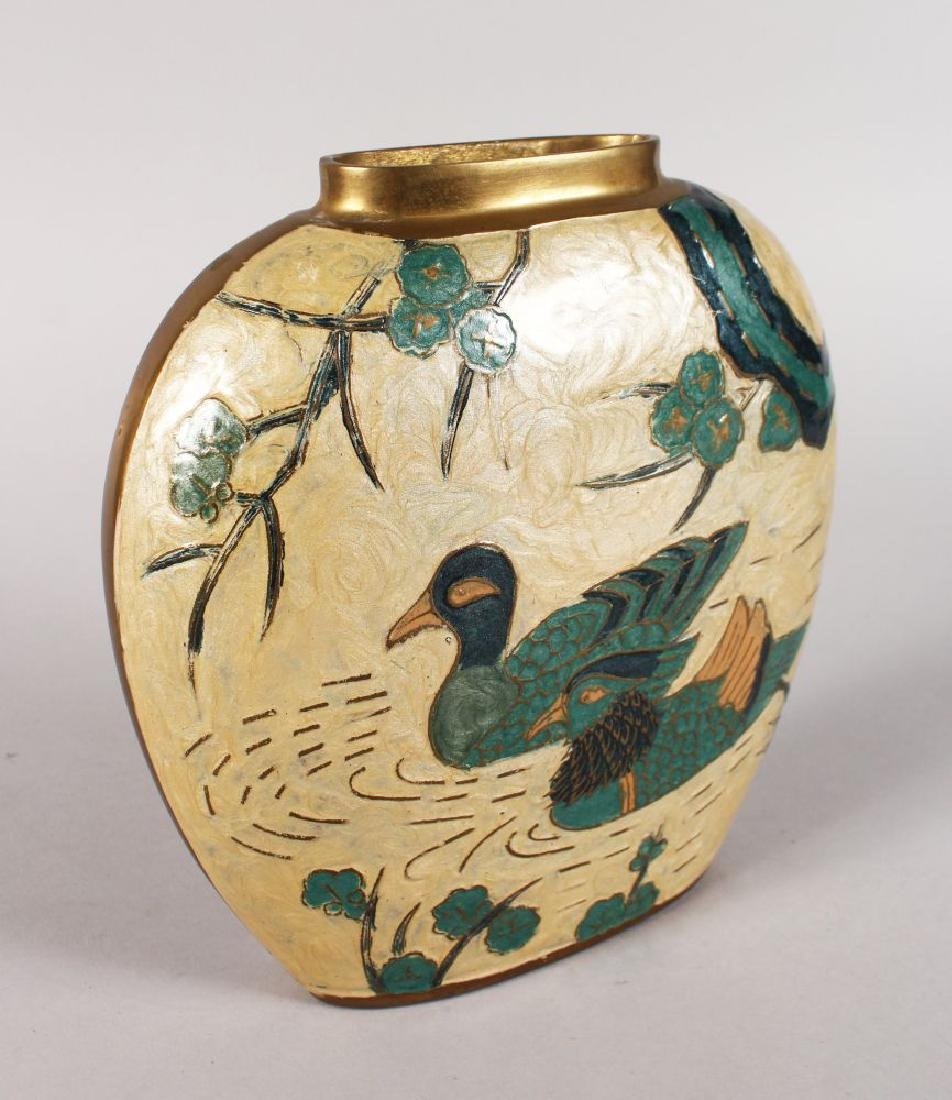 A 1950'S BRONZE AND ENAMEL VASE decorated with ducks.