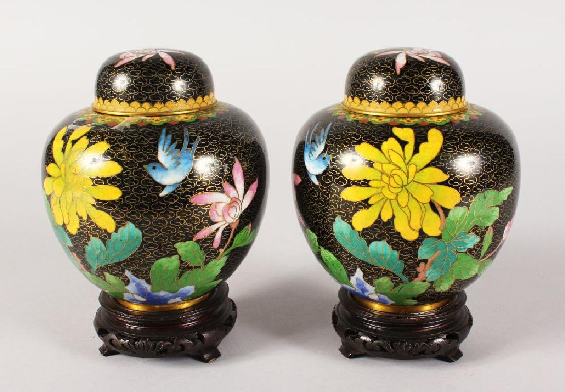 A PAIR OF JAPANESE CLOISONNE  ENAMEL GINGER JARS AND