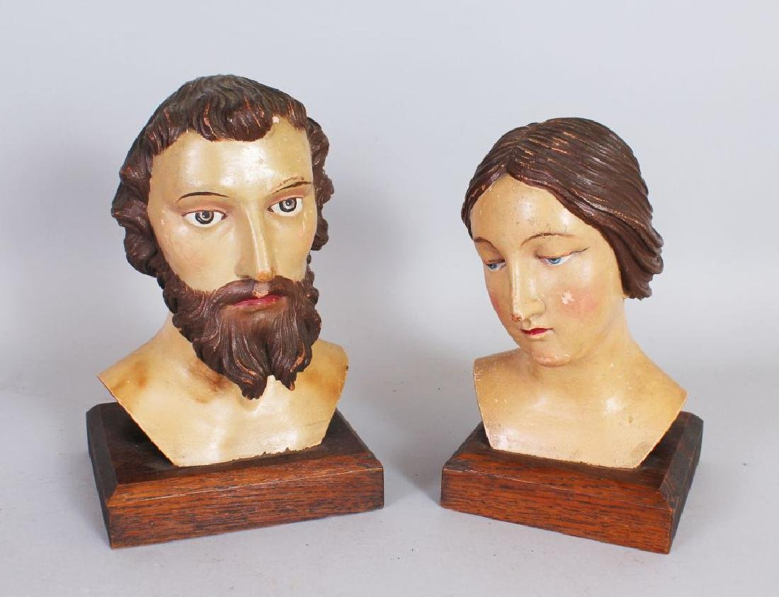 A PAIR OF 19TH CENTURY ITALIAN CARVED WOOD BUSTS OF A