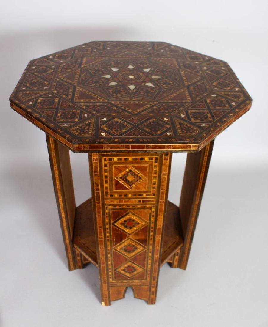 AN OTTOMAN INLAID OCTAGONAL TABLE with under-tier.