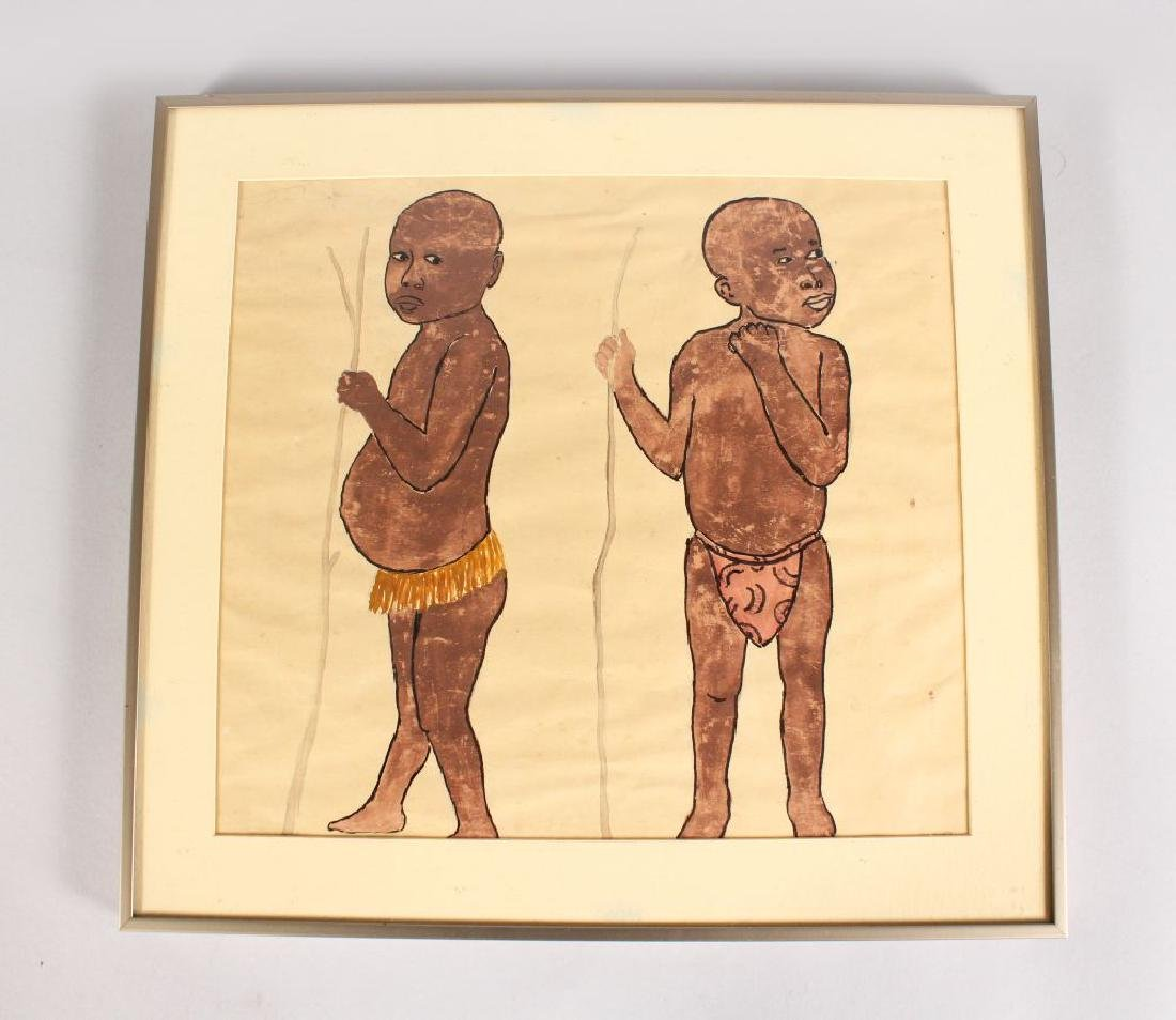 A PEN AND INK PICTURE OF THE AFRICAN BOYS, framed and