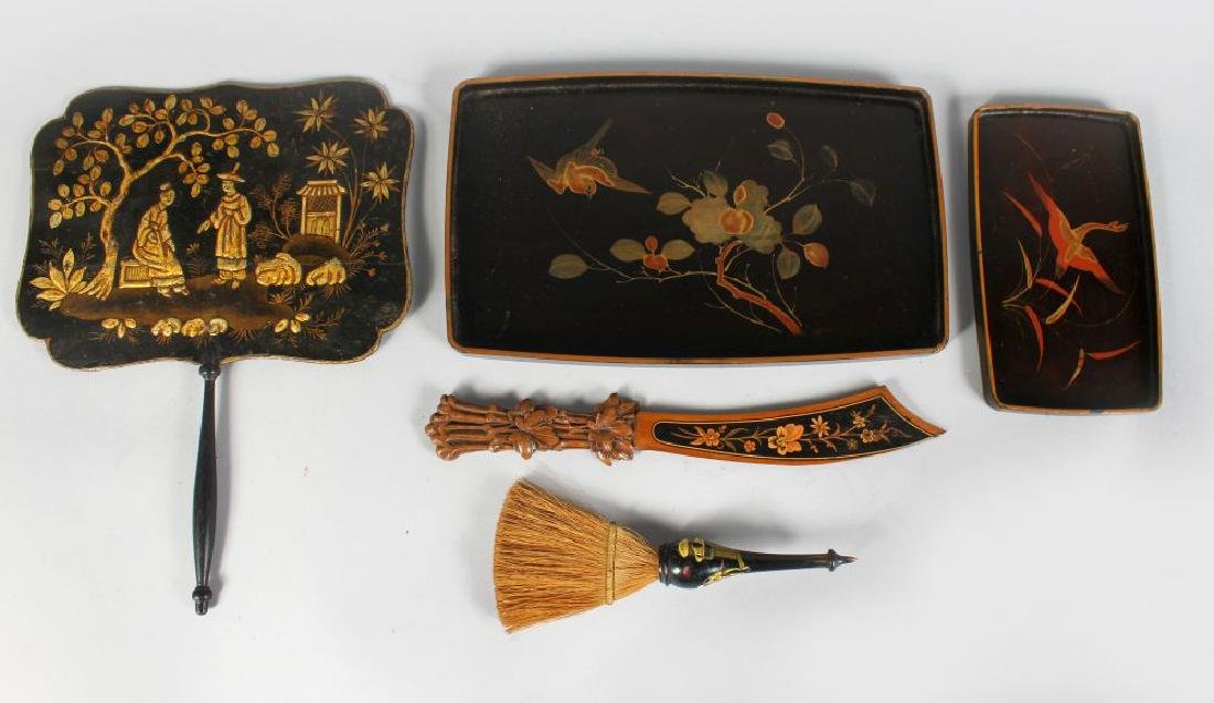 A CARVED WOOD PAPER KNIFE, FACE SCREEN, two trays and