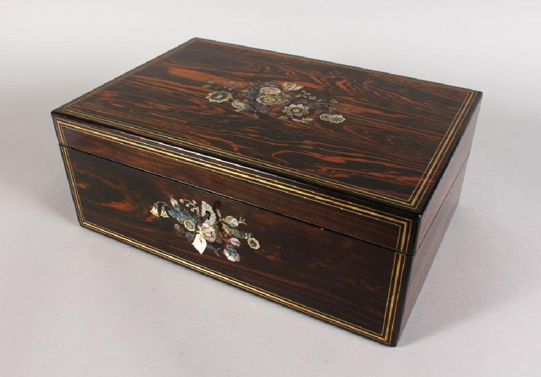 A SUPERB INLAID COROMANDEL WRITING BOX inlaid with