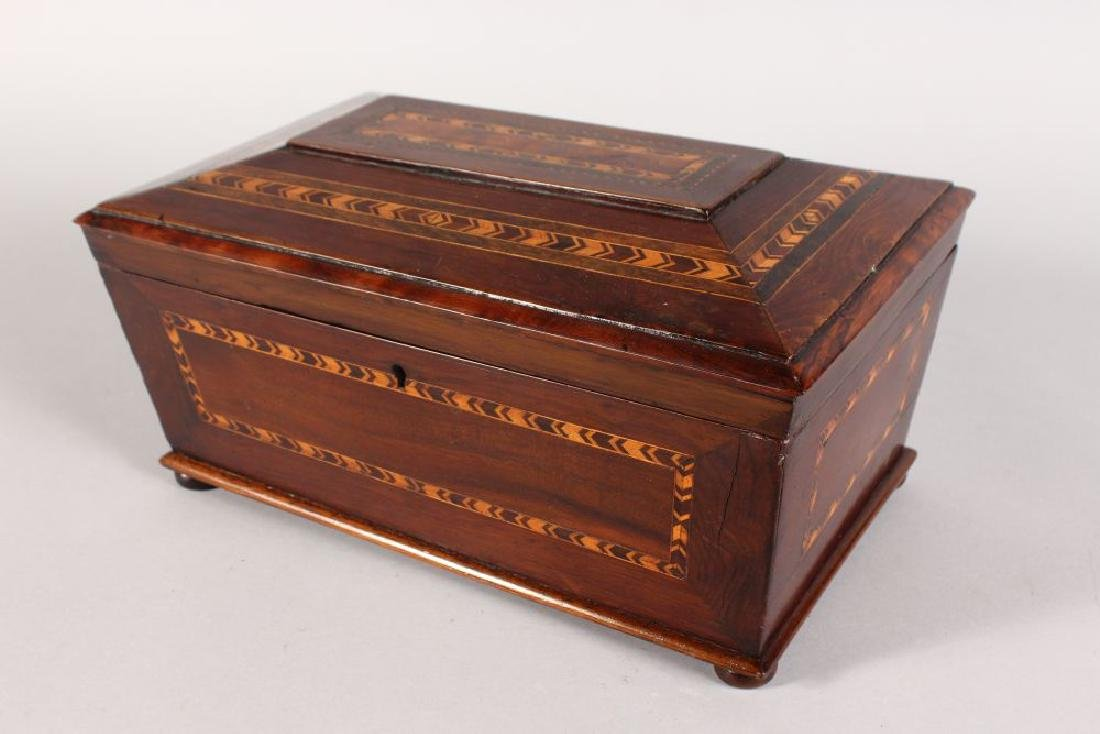 A 19TH CENTURY YEW WOOD TEA CADDY, of sarcophagus form