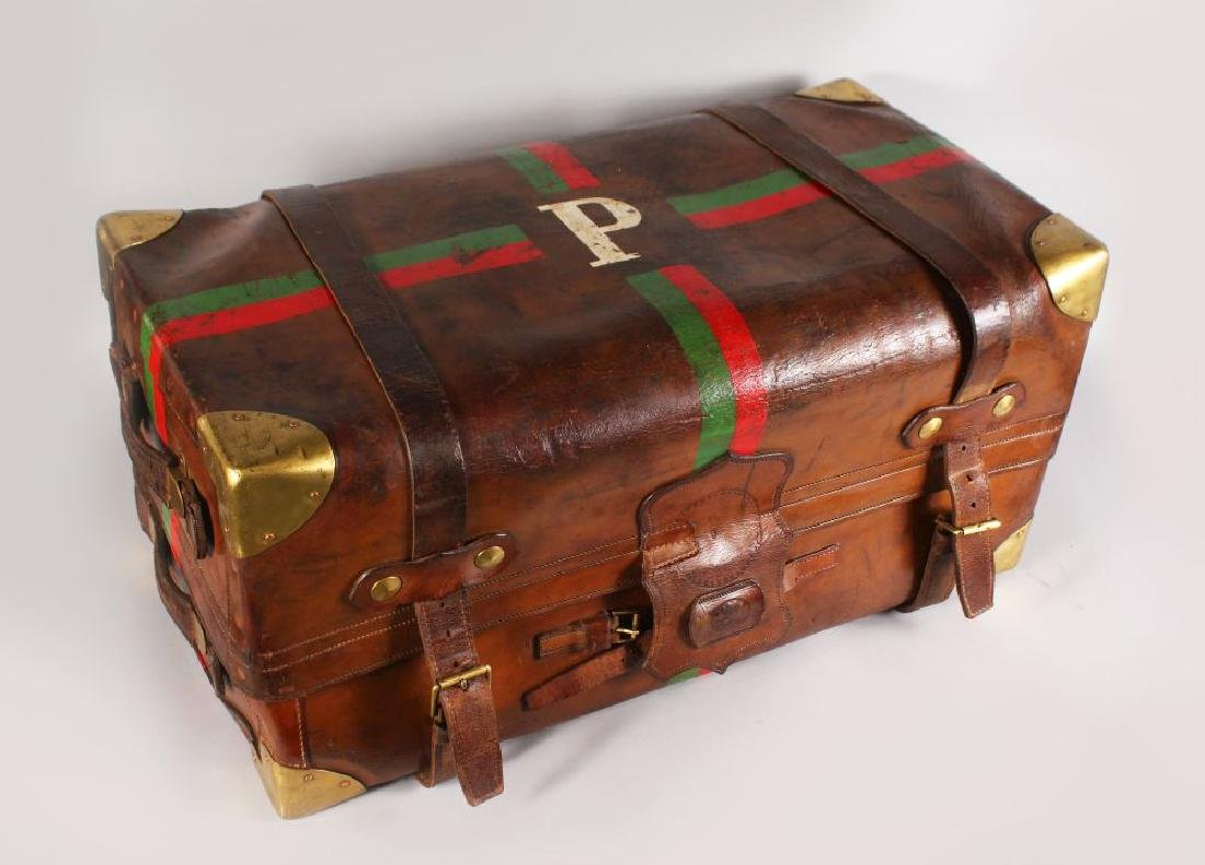 A GOOD LARGE LEATHER TRUNK, by J. W. ALLEN, LONDON,