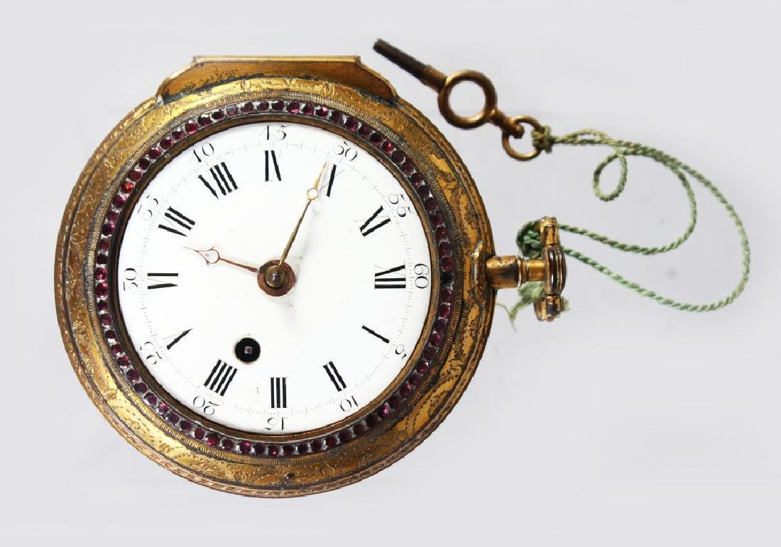 A LARGE WARD OF LONDON VERGE POCKET WATCH, with black