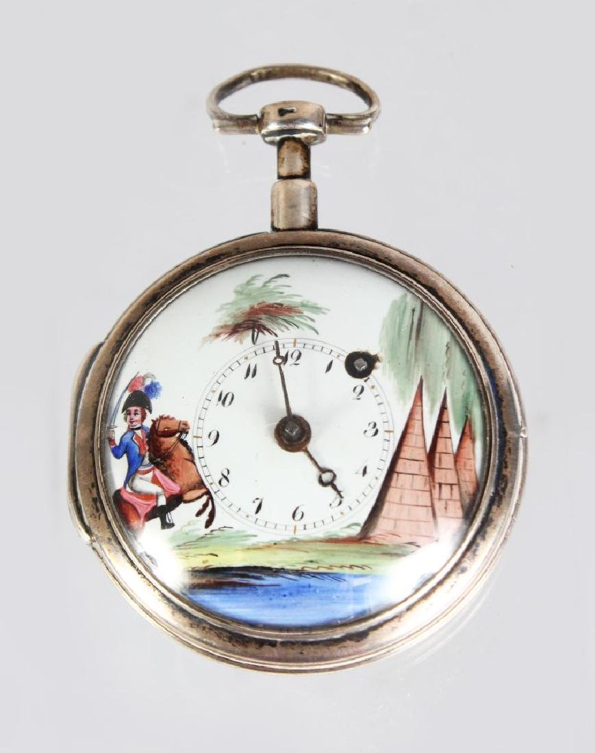 A 19TH CENTURY FRENCH SILVER POCKET WATCH, with painted