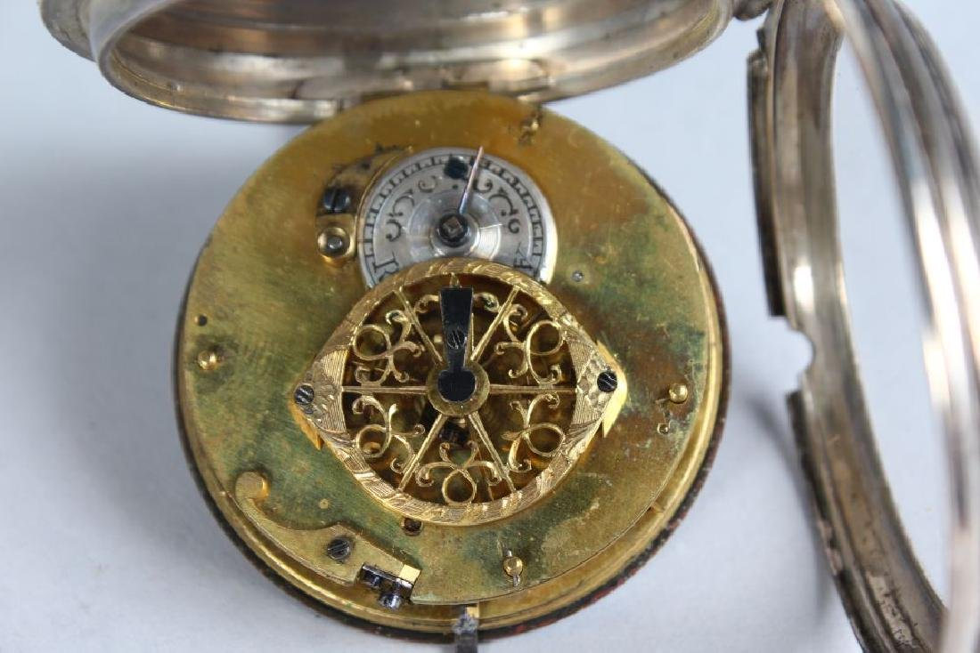A 19TH CENTURY FRENCH SILVER POCKET WATCH, with painted - 2