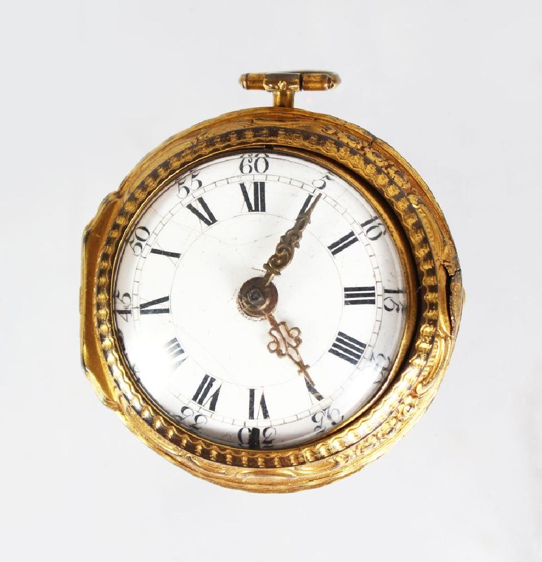 A GEORGE III SILVER GILT VERGE POCKET WATCH by JN.
