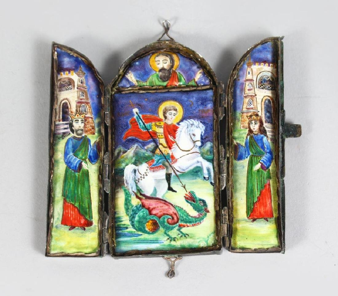 A RUSSIAN TRAVELLING SILVER TRIPTYCH, dated 1889, plain