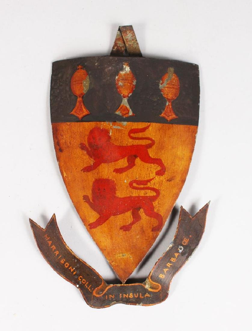 A PAINTED METAL SHIELD.