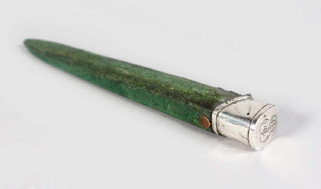 A LONG SILVER MOUNTED GEORGIAN SHAGREEN CASE.  8ins