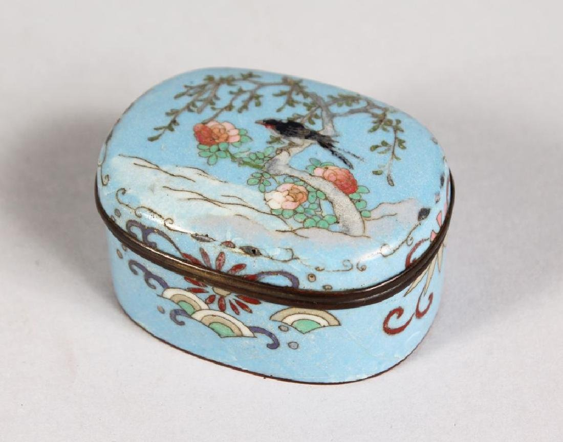 A SMALL JAPANESE CLOISONNE ENAMEL BOX AND COVER, the