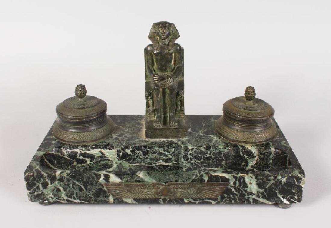 AN EGYPTIAN BRONZE AND MARBLE REVIVAL INKSTAND.
